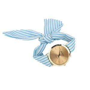 Montre Bracelet Vintage Femme, GongzhuMM 2018 Nouveau Femme Fille Montre Pas Cher a la Mode Femmes Montre-bracelet avec Bracelet Tissu Rayures Floral (35*35*7mm, BLEU)