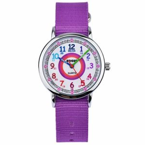 Montre Enfant Montre d'enfant Fille Nylon Violet Montre pour Fille Montre pour Enfant Fille Montre pedagogique Time Teacher Cadran Easy-Read KW108-NEW