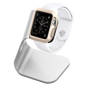 Nicerio Support de montre pour Apple, station de recharge portative en aluminium – Dimensions : 42x 38mm–Chargeur universel pour iWatch – Argenté