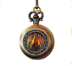 nijiahx Eternal Flames Fire Montre de Poche Collier
