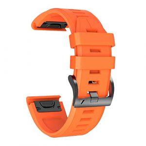 NotoCity Bracelet Fenix 5X avec Fermoir à Ressort, 26 mm Bracelet en Silicone à Ajustement Facile Compatible Garmin Fenix 5X / Fenix 5X Plus/Fenix 3 / Fenix 3 HR (Orange)