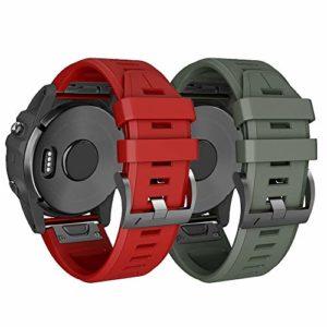NotoCity Compatible Garmin Fenix 3 avec Fermoir à Ressort, 26 mm Bracelet en Silicone Compatible Fenix 5X / Fenix 5X Plus/Fenix 3 / Fenix 3 HR/Garmin Instinct (Rouge et ARMÉE Verte)