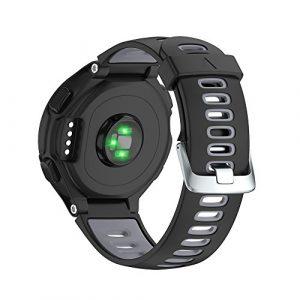 NotoCity Replacement for Bracelet Garmin Forerunner 735XT/230/220/235/620/630 Boucle d'argent Noir + Gris