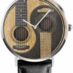 Old and Worn Acoustic Guitars Yin Yang Black Quartz Movement Stainless Steel Leather Strap Watches Casual Fashion Wrist Watches