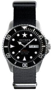 Oxygen – EX-D-MOB-44-BL – Diver – Montre Homme – Quartz Analogique – Cadran Noir – Bracelet Nylon Noir