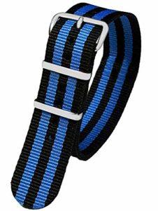 Pacific 10040 Time First Bracelet de Rechange en Textile avec Boucle ardillon Noir/Bleu rayé