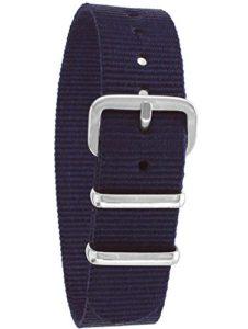 Pacific Time Bracelet de montre de rechange en textile avec boucle ardillon Bleu 10000