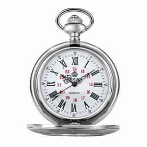 Pocket watch Montre de Poche – Vapeur Creux Retro Antique Haut de Gamme Hot Grand Clamshell mécanique Montre de Poche Roman sculpté Creux Classique Montre mécanique QD (Color : H)