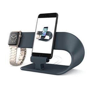 PUGO TOP Stand for Apple Watch, Holder Support Silicone Cable de Charge Support Fur iwatch 38mm/40mm & 42mm/44mm(2 in 1 Stand- Noir)