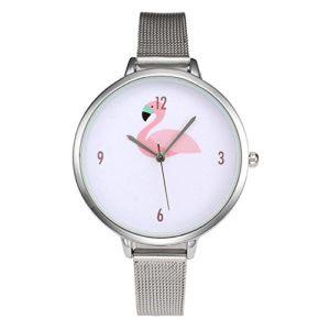 Rainbabe Alliage Bandes Chiffres arabes Rose Little Swan Grand cadran à quartz analogique Bracelet montre-bracelet pour Laydys