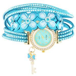 Rainbabe Bleu coréen en Velours Bracelet Multicouche Fleurs Cadenas à Quartz analogique Montre-Bracelet pour Femme 43cm