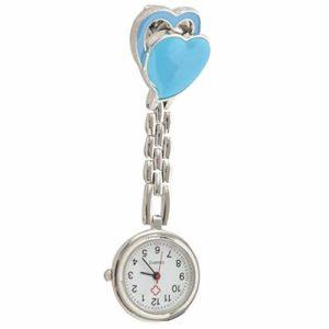 RETYLY Montre d'infirmiere pour Dames Montre de Poche a Quartz Montre d'infirmiere avec Coeur Double Clip (Bleu)
