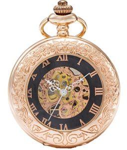Sewor vintage Loupe montre de poche Squelette remontage manuel montre de poche Incluent Marque Boîte en cuir (Or Rose)
