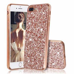 Slynmax Coque de protection en silicone TPU souple pour iPhone 7 Plus/iPhone 8 Plus 5,5″ Or rose Rose doré