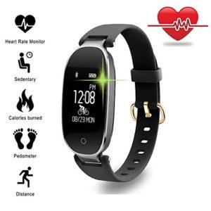Smart montres, TechCode Bluetooth Étanche S3 Smart Watch Mode Femmes Dames Moniteur de Fréquence Cardiaque Fitness Tracker Smart montre pour Android IOS iPhone 6/7/8 Plus, iPhone X, Samsung S8 / S9 Plus etc. (Or Noir)