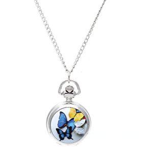 SODIAL(R) Femme Medaillon Pendentif Quartz Montre de poche Collier Chaine Argent Cadran Vintage Papillon [Montre]