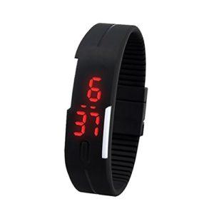 SODIAL(R) Montre electronique tactile en silicone avec une lampe LED rouge pour les hommes Montre numerique tactile en silicone – Noir