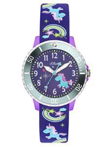 s.Oliver Time Fille Montre pour Apprendre à Lire l'heure Quartz Bracelet en Silicone SO-3434-PQ
