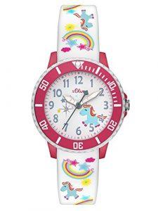 s.Oliver Time Fille Montre pour Apprendre à Lire l'heure Quartz Bracelet en Silicone SO-3435-PQ