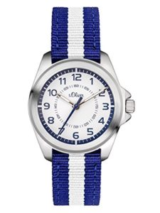 s.Oliver Time Garçon Montre pour Apprendre à Lire l'heure Quartz Bracelet en Tissu SO-3401-LQ