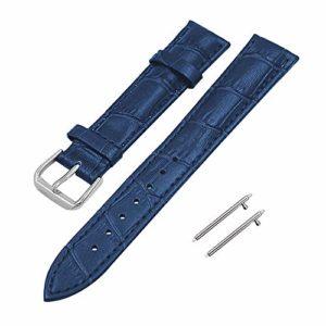 Souarts 1Set Bracelet de Montre en Cuir Bandes en Cuir Bracelet de Remplacement avec Fermoir en Acier Inoxydable pour Hommes et Femmes 12/14/16/18/19/20/21/22/24 mm Bleu