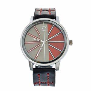 Souarts Homme Montre Bracelet Quartz Analog Cadran Rond Rouge Sangle Cuir Artificiel Noir 24cm