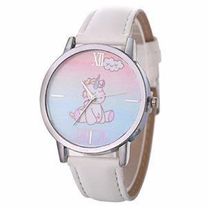 Souarts Montre Bracelet Quartz Analog Cadran Horse Cheval Cartoon Étanche Sangle en Cuir PU pour Enfant Étudiant Blanc