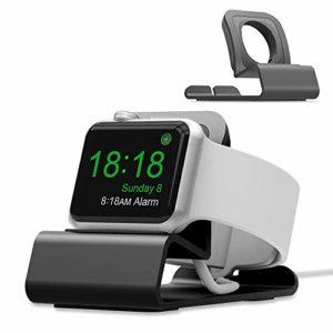 Support Apple Watch, Apple Watch Stand Alliage d'Aluminium Support Mode Chevet Compatible avec Apple Watch Serie 4/3/2/1(N'inclut Pas Le câble) (Gris)