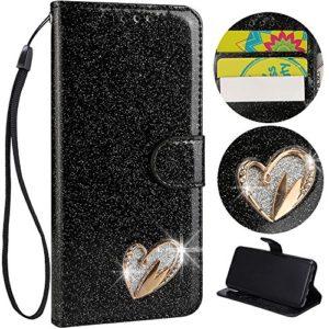 Sycode Portefeuille Housse pour Galaxy S8,Glitter Cuir Coque pour Galaxy S8,Shiny Or Amour Cœur Forme Diamant Flip Etui Cover pour Samsung Galaxy S8-Noir