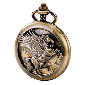 Treeweto vintage mécanique Squelette creux Pegasus sculpté montre de poche pour homme femme, bronze