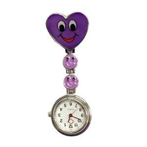 trifycore Montre de poche médicale du cadran spécial de l'infirmière de la face du coeur de la sourire violet