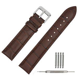 TStrap Bracelet Montre Cuir 18mm Bande Chaîne de Montre Watch Strap pour Homme Femme Marron