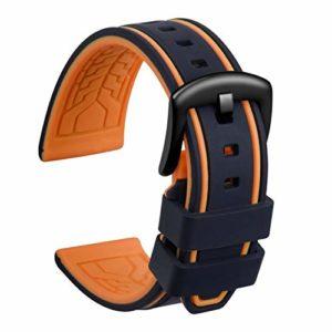 Ullchro Bracelet Montre Remplacer Silicone Bracelet Montre Bicolore – 20, 22, 24, 26mm Caoutchouc Montre Bracelet avec Acier Inoxydable Boucle Noir (22mm, Noir et Orange)