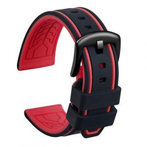 Ullchro Bracelet Montre Remplacer Silicone Bracelet Montre Bicolore – 20, 22, 24, 26mm Caoutchouc Montre Bracelet avec Acier Inoxydable Boucle Noir (22mm, Noir et Rouge)