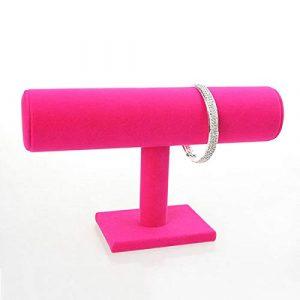 Webri – Bracelet Portable en Velours – pour Montre ou Montre – avec Porte-Bijoux, Rose Rouge, 9.1in