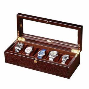 ZGQA-AOQ 5 Trough Bijoux Collection Finition Affichage Boîte/Verre en Bois Couverture Bijoux Affichage Boîte de Rangement en Bois
