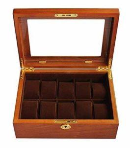 ZGQA-AOQ Bijoux Collection Boîte de Finition / 10 Fente Coffret en Bois Bijoux Femme en Bois Top Affichage en Verre