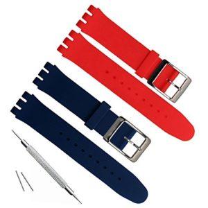 17mm de remplacement étanche en caoutchouc de silicone Bracelet de montre bracelet de montre (Bleu marine + Rouge)