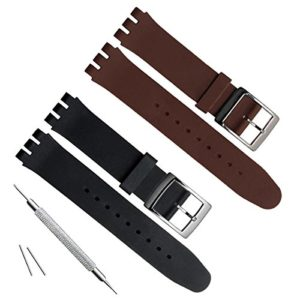 17mm de remplacement étanche en caoutchouc de silicone Bracelet de montre bracelet de montre (Noir + Marron)