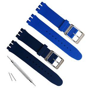 19mm de remplacement étanche en caoutchouc de silicone Bracelet de montre bracelet de montre (Bleu marine + Bleu)