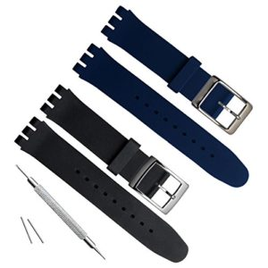 19mm de remplacement étanche en caoutchouc de silicone Bracelet de montre bracelet de montre (Noir + Bleu marine)