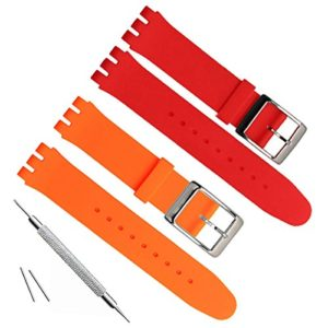 19mm de remplacement étanche en caoutchouc de silicone Bracelet de montre bracelet de montre (Orange + Rouge)