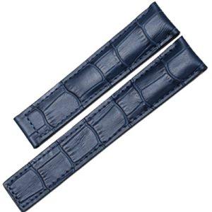 22mm Alligator en relief déploiement Cuir Bleu Bracelet de montre pour boucle déployante