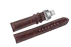 22mm marron bracelets de montres en cuir de remplacement de luxe / bandes faits à la main avec coutures blanches pour les marques suisses de haut grade