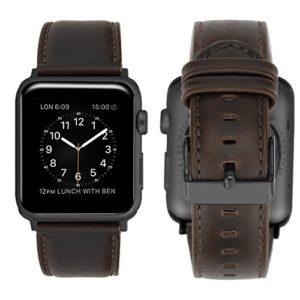 Apple Watch Series 3 Bracelet 42mm Cuir, iBazal Apple Watch Bracelet 42mm iWatch Bande pour Apple Watch Série 3, Série 2, Série 1 – Café Classique