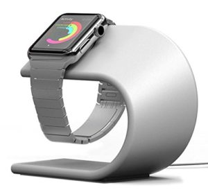 Apple Watch Stand, PUGO TOP Apple Watch Holder Support Silicone Câble de charge Support Fur iwatch 38 mm & 42 mm-Argento