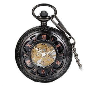 Avaner Unisexe Noir Tone Steampunk antique creux Squelette moitié Hunter Coque mécanique à remontage manuel montre de poche