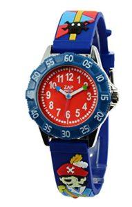 Baby Watch – 606016 – Corsaire – Montre Garçon – Quartz Pédagogique – Cadran Rouge – Bracelet Plastique Bleu