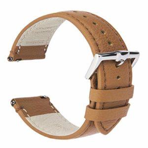 B&E Bracelets de Montre en Cuir à Grain Fin Bracelet à Dégagement Rapide – Bande de Montre Doublée en Cuir de Veau Lisse et Doux pour Homme et Femme – Earth Tone 22mm