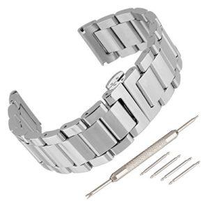Beauty7 Bracelet du Montre 16mm/18mm/20mm/22mm/24mm Bande du Montre Boucle Deployante en Acier Remplacement Bande de Poignet Etanche Argente Homme Femme